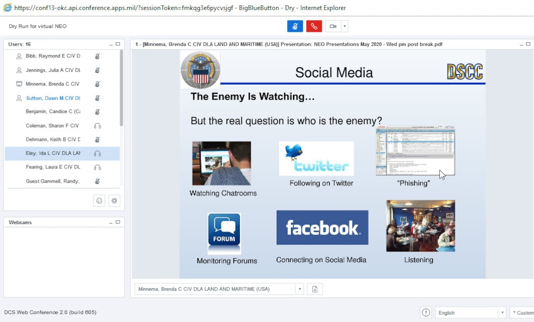 Screen shot of Defense Collaboration System Virtual New Employee Orientation, held on May 20 and 21, 2020