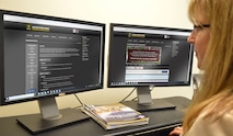 Lira Frye, U.S. Army Space and Missile Defense Command Public Affairs director, accesses online training through the U.S. Army Combined Arms Center website. The COVID-19 pandemic has increased the utilization of digital training methods, as the Army workforce practices safety measures to reduce the spread of the coronavirus. (U.S. Army graphic by Mikayla Mast)
