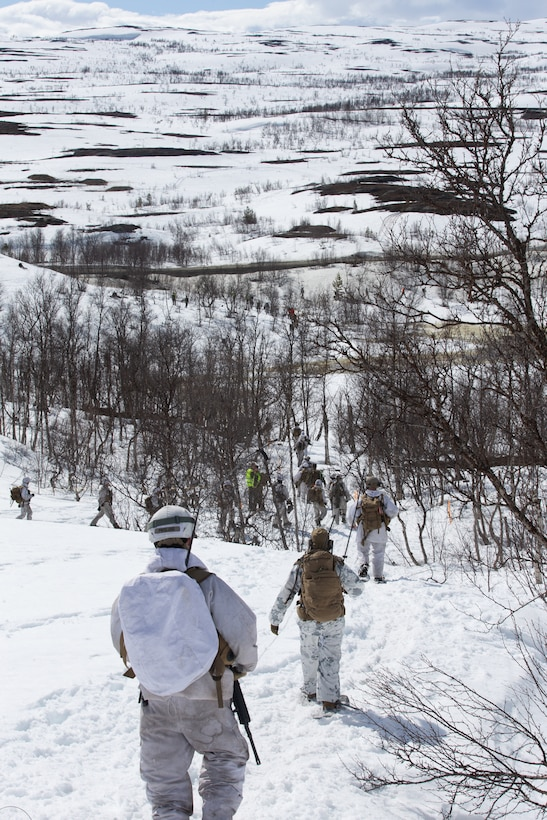 U.S. Marines with Marine Rotational Force-Europe 20.2, Marine Forces Europe and Africa, and Norwegian soldiers trek through snowy terrain to their next rendezvous point during Exercise Thunder Reindeer in Setermoen, Norway, May 27, 2020. Thunder Reindeer is an annual two-week exercise that includes live-fire ranges, combined arms and improves interoperability between the U.S. Marine Corps and Norwegian Armed Forces. (U.S. Marine Corps photo by Lance Cpl. Chase W. Drayer)