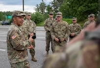 Maj. Gen. David Mikolaities, adjutant general of the New Hampshire National Guard, addresses soldiers from the 237th Military Police Company assigned to Task Force Security at the Nashua Police Department on June 6, 2020.