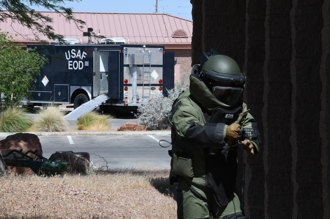 Master Sgt. Andrew Ueno, 926th Explosive Ordnance Disposal technician, trains in a stateside or permissive improvised explosive device response exercise June 6, 2020 at Nellis Air Force Base, Nevada.