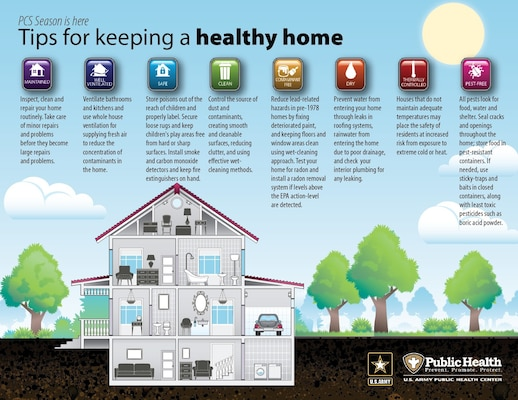 A great resource during PCS season is this Army Public Health Center flyer with eight tips on keeping a healthy home.
