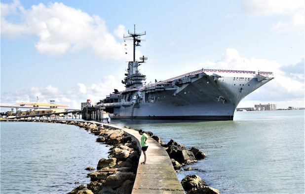 The USS Lexington Aircraft carrier seen docked during a tour to Corpus Christi. DLIELC offers over 200 tours a year to a wide variety of locations. (Feb 2020 by Spencer Berry)