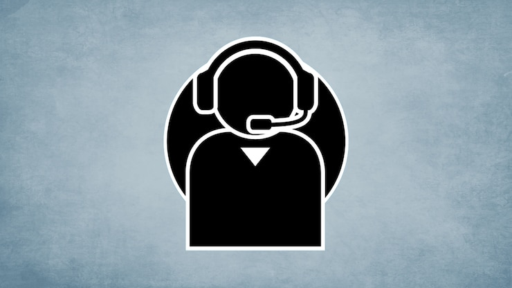 A simplified illustration of a person wearing a headset.