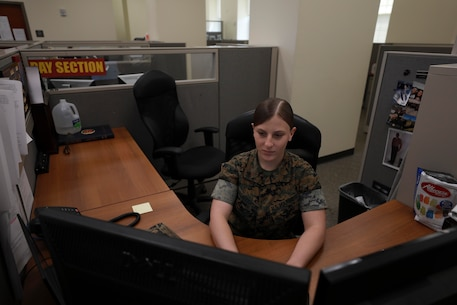 The Marine Corps Recruit Depot Parris Island Finance Office reviews payments processing of master pay accounts, and the fiscal accounting supporting the transactions. Finance technicians also adjudicate, review, and oversee payment of vouchers of reimbursement for official travel.