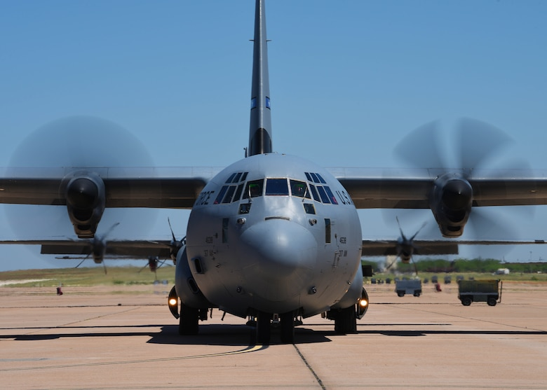 A C-130J Super Hercules prepares to depart Dyess Air Force Base, Texas, to participate in the U.S. Air Force Weapons School Joint Forcible Entry exercise June 6, 2020. The JFE exercise takes place at Nellis AFB, Nev. and is designed to be a large-scale air drop and land mobility mission. (U.S. Air Force photo by Senior Airman Mercedes Porter)