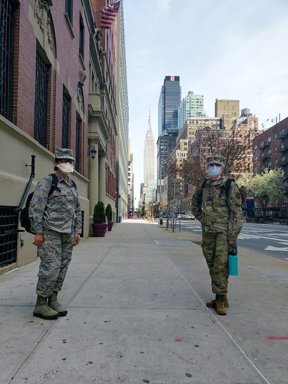 Capt. Andrea Morgan (right), a reservist in the 419th Medical Squadron, poses with a coworker during a deployment to New York City at the height of the city's coronavirus pandemic in April.