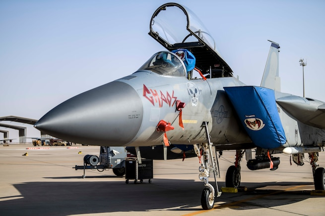 A U.S. Air Force F-15C Eagle from the 44th Expeditionary Fighter Squadron rests on the flight line at Prince Sultan Air Base, Kingdom of Saudi Arabia, June 2, 2020. The Eagle's air superiority is achieved through a mixture of unprecedented maneuverability and acceleration, range, weapons and avionics. It can penetrate enemy defense and outperform and outfight any current enemy aircraft. (U.S. Air Force photo by Staff Sgt. Giovanni Sims)