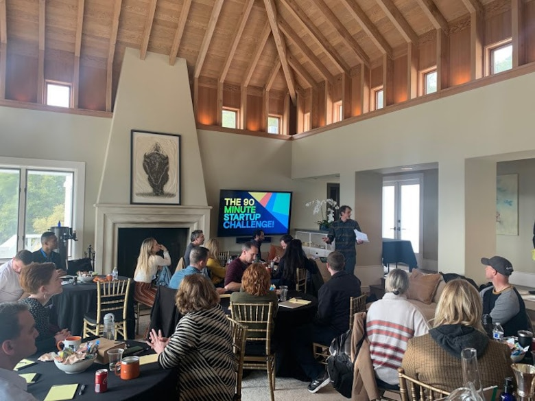 Members of the inaugural Air Force Ventures Fellowship cohort participate in a 90-minute startup challenge event at the Random Acts of Kindness Ranch in Napa Valley, Calif., March 8.