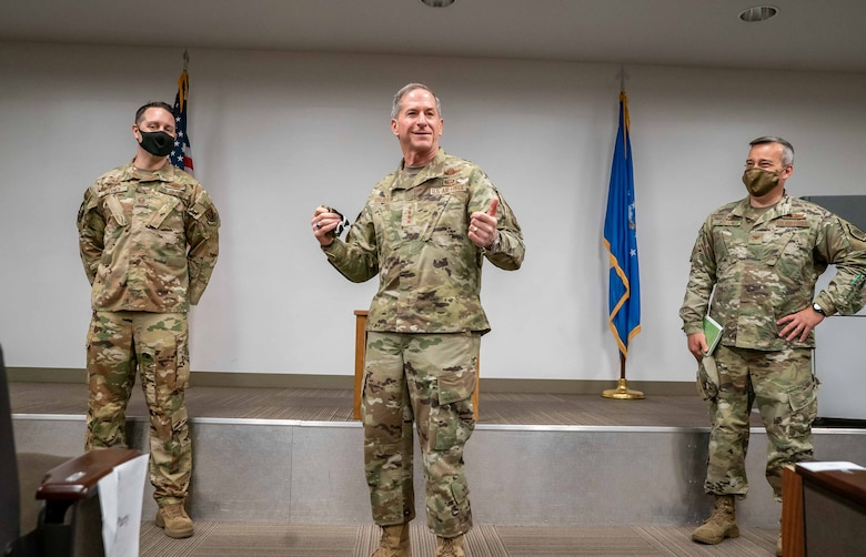 Gen. David L. Goldfein, Chief of Staff of the Air Force, talking with E-3 Airmen at the 966th Airborne Air Control Squadron at Tinker Air Force Base, June 8, on the importance of innovation and adaptability during COVID-19.  During his time with the 552nd Air Control Wing, Goldfein also met with the 552nd Maintenance Group. (U.S. Air Force photo by 2nd Lt. Danny Rangel)