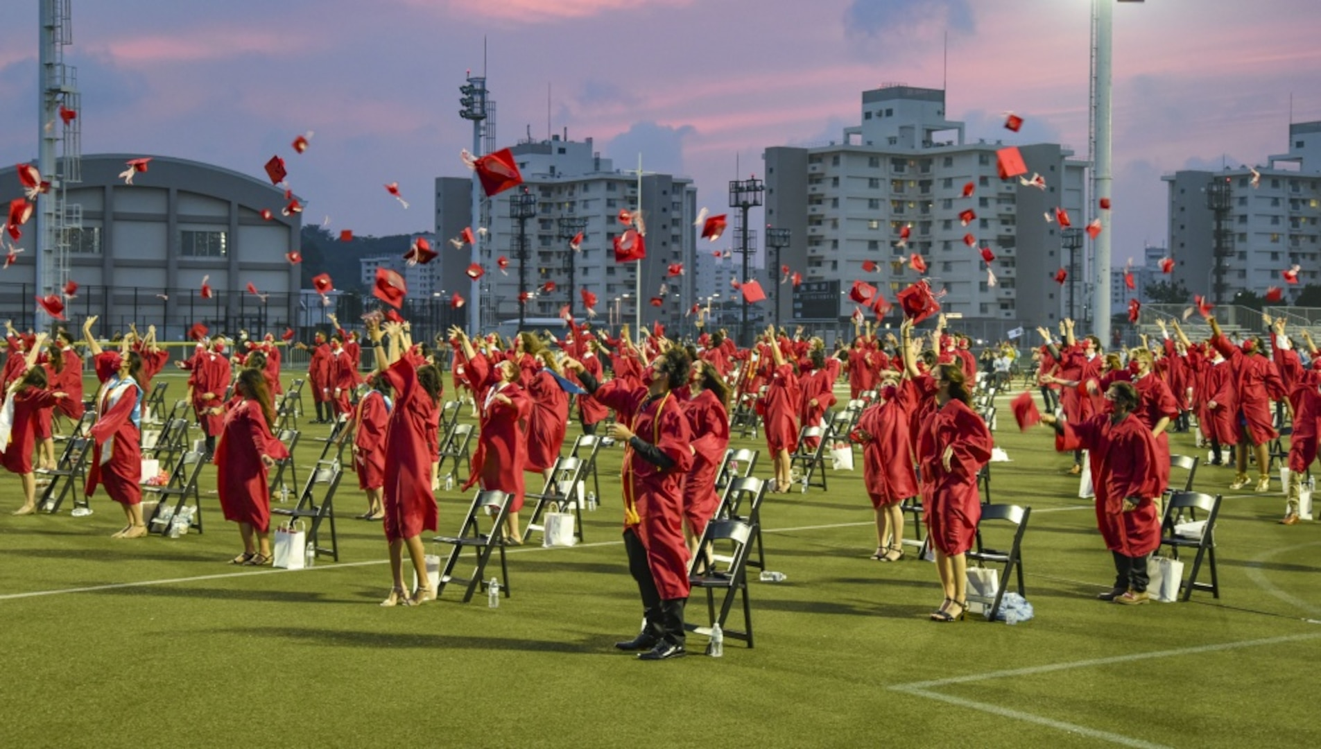High School on U.S. Navy Base in Japan Holds Socially Distanced Graduation Ceremony