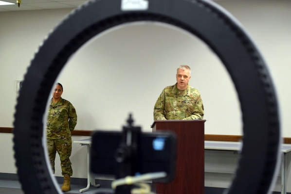 Col. Wayne M. Williams, 433rd Mission Support Group commander, delivers his remarks during a change of command ceremony at Joint Base San Antonio-Lackland, Texas, June 6, 2020.
