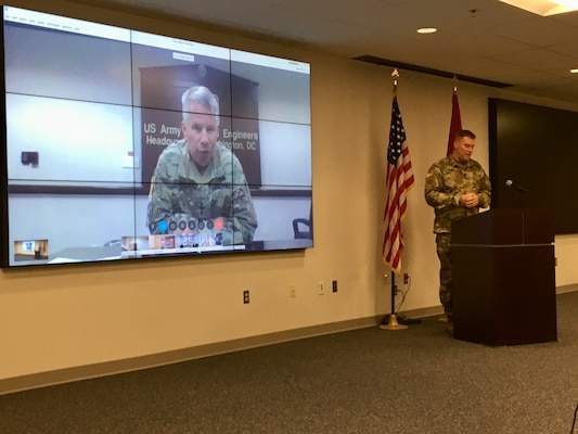 Lt. Gen. Todd Semonite, the 54th Chief of Engineers, holds a virtual town hall meeting for U.S. Army Corps of Engineers employees to encourage them to deploy in support of USACE operations around the U.S. and the world.
