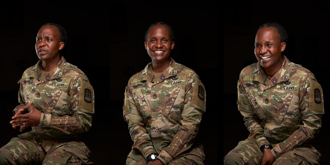 U.S. Army Sgt. 1st Class Carmen Granville, a telecommunications operations chief with the 335th Signal Command (Theater), poses for a portrait at East Point, Georgia, May 28, 2020.