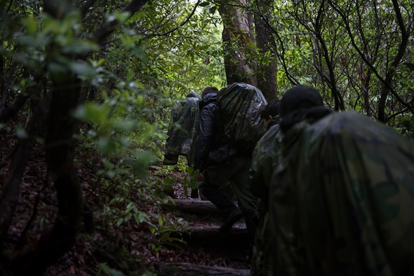 A group of Airmen from Seymour Johnson Air Force Base navigate a mountain trail, near Brevard, North Carolina, May 20, 2020. The group was taking part in combat survival training to become survival, evasion, resistance and escape augmentees. (U.S. Air Force photo by Senior Airman Kenneth Boyton)