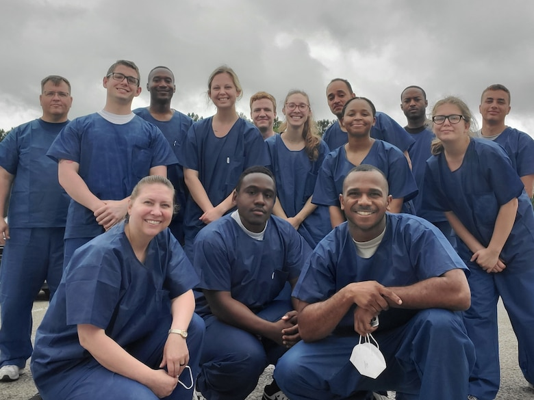 U.S. Air Force Master Sgt. Jennifer Wagner (front row, left), an aerospace medical technician from the 169th Medical Group, South Carolina Air National Guard, poses with South Carolina Army National Guard Soldiers at Allendale Correctional Institution in Allendale, South Carolina, during most of May, 26, 2020. The Joint Medical Team provided support services to the staff and inmates at facility as part of the state's COVID-19 response effort. (U.S. Air National Guard photo by Master Sgt. Jennifer Wagner)