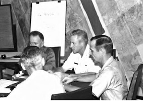 In November 1961, Brig. Gen. Rollen Anthis (center) is pictured with his initial staff at Tan Son Nhut Air Base, Vietnam. By 1973, OSI District 50 at Tan Son Nhut was inactivated and eventually all OSI activity ceased except for the destruction of remaining records and evacuation of personnel which was known as Operation Blackbird. (U.S. Air Force photo)