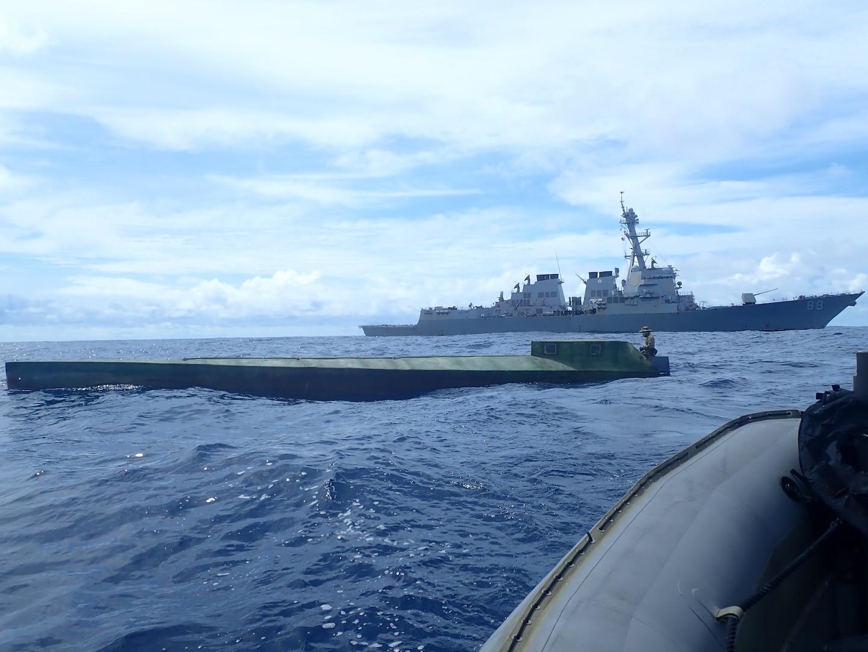 USS Preble interdicts a semi-submersible vessel in the Eastern Pacific Ocean.
