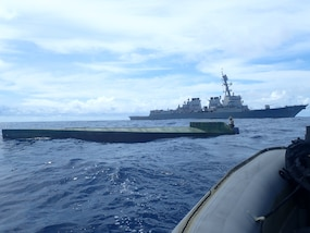 USS Preble interdicts a semi-submersible vessel in the Eastern Pacific Ocean.