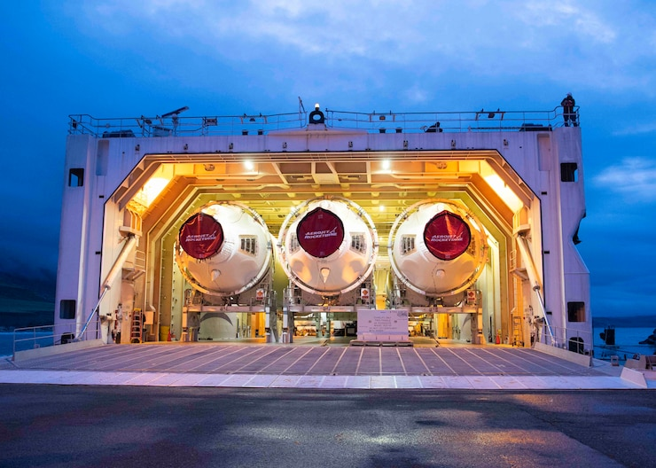 The hatch opens on a United Launch Alliance barge, known as the RocketShip,