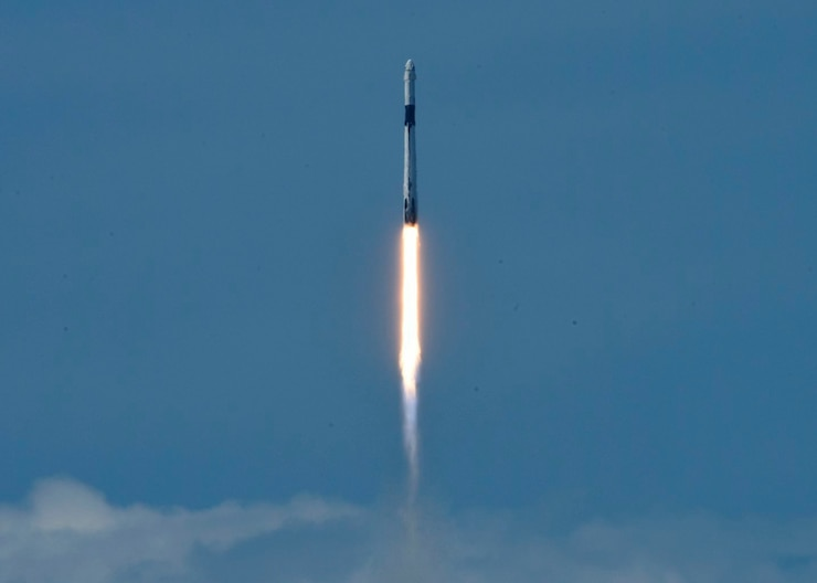 A Falcon 9 containing United States astronauts Robert Behnken and Douglas Hurley successfully launches from Pad 39A, at Cape Canaveral Air Force Station, Fla.