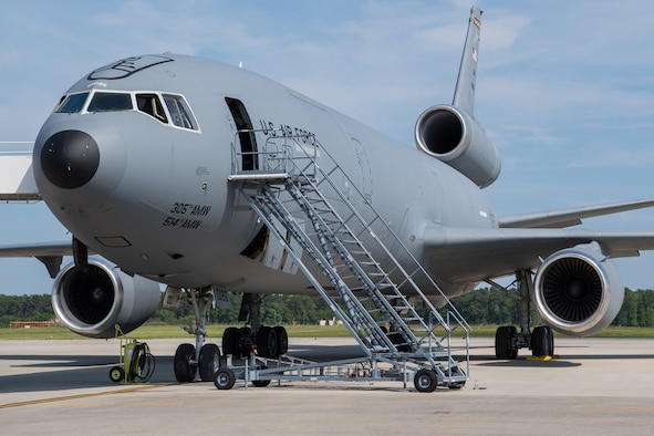 A U.S. Air Force KC-10 Extender operated by the 514th Air Mobility Wing sits on the flightline at Joint Base McGuire-Dix-Lakehurst, N.J., June 10, 2020.