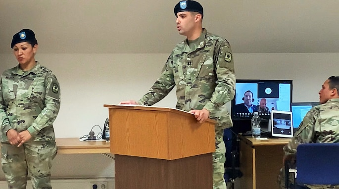 Army Reserve unit combines technology with tradition during virtual change of command ceremony