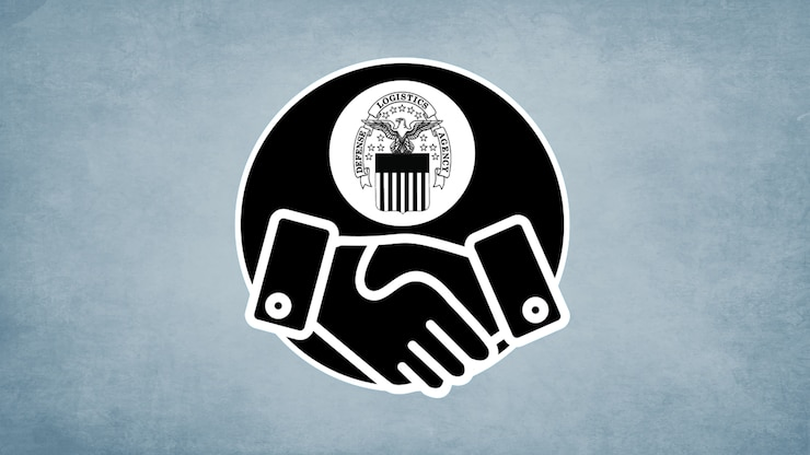 A simplified illustration of two hands shaking with the DLA emblem above them