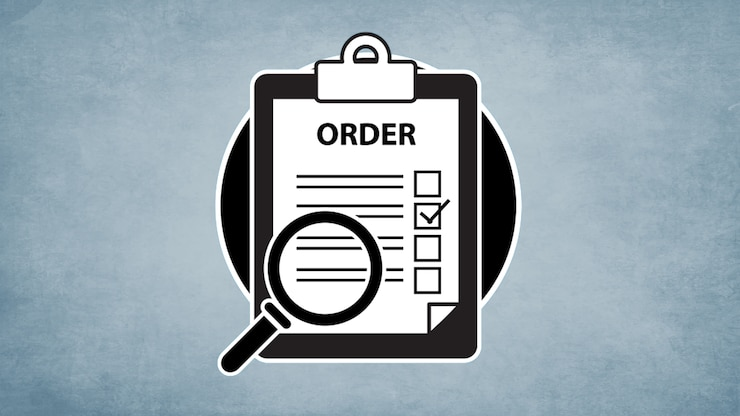 "A simplified illustration of clipboard with a checklist labeled with the word ""order"" accompanied by a magnifying glass"