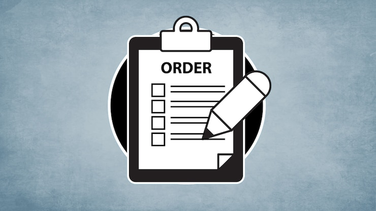 "A simplified illustration of a clipboard with a checklist labeled ""order"" accompanied by a pencil"