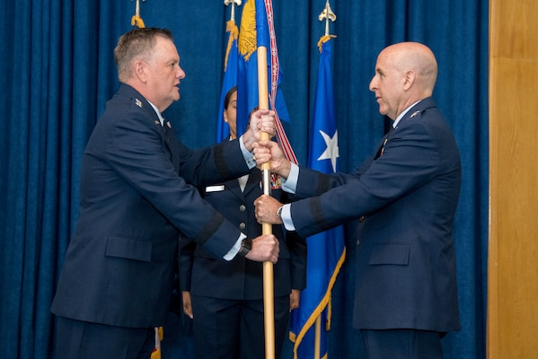 """Maj. Gen. Edward Thomas, Jr., takes command of Air Force Recruiting Service from Lt. Gen. Marshall """"Brad"""" Webb, commander, Air Education and Training Command in a ceremony at Joint Base San Antonio-Randolph, Texas,  June 11, 2020."""