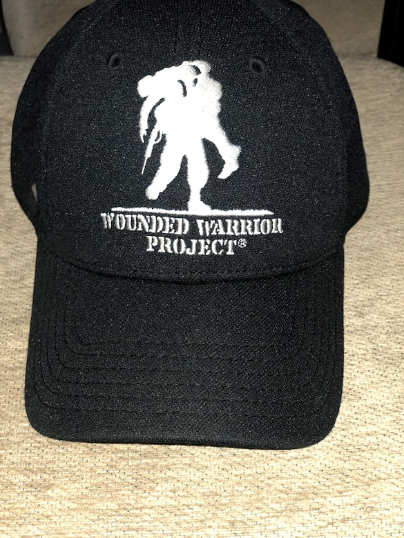 The Wounded Warrior hat given to Bernard Lawson by a good Samaritan at Brooke Army Medical Center on Fort Sam Houston, Texas, circa 2003. Lawson was at BAMC recovering from major nerve damage after a routine response call to VX gas at Johnston Atoll, a former chemical, weapons storage and demilitarization site. Through hard work and help from others, like Wounded Warriors, he continues to recover and is currently the emergency manager for the Air Force Installation and Mission Support Center. (U.S. Air Force courtesy photo)