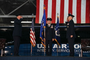 Col. Tyler Schaff assumes command of the 316th Wing and Joint Base Andrews at Hangar 3 on JBA, Md., June 11, 2020. Schaff now oversees approximately 2,500 Airmen, Department of Defense civilians and contractors in the 316th Wing. He will also serve as installation commander to JBA; home to two higher headquarters, six wings, more than 80 tenant organizations and an estimated 17,000 personnel. (U.S. Air Force photo by Airman 1st Class Spencer Slocum)