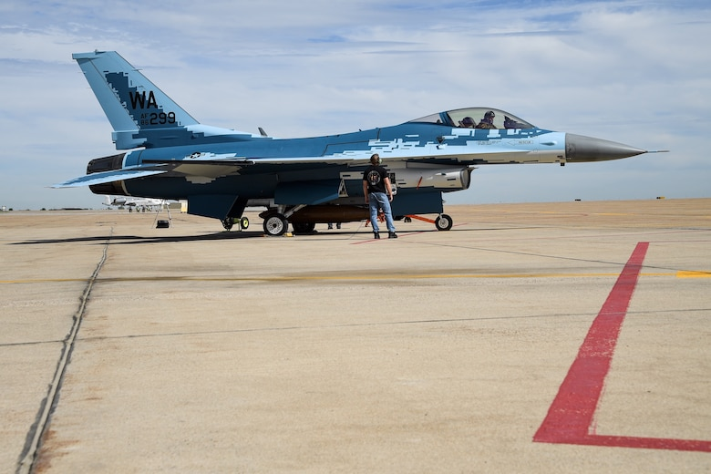 """A maintainer and a pilot with the 514th Flight Test Squadron prepare to launch an F-16 Fighting Falcon with a """"ghost"""" paint scheme at Hill Air Force Base, Utah, June 3, 2020. (U.S. Air Force photo by R. Nial Bradshaw)"""