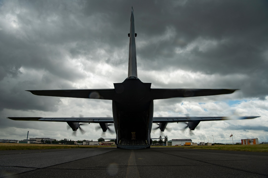 A photo of an aircraft sits on Weisbaden, Germany.