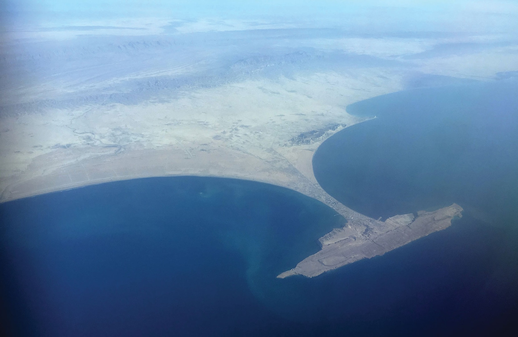 Aerial view of Gwadar (Balochistan), western Pakistan, by the Arab Sea. This port is being leased to China for 43 years under