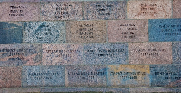 Wall of former KGB headquarters in Vilnius inscribed with names of those tortured and killed in its basement.