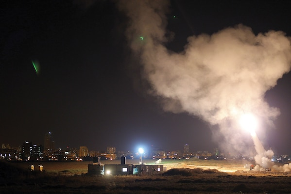 Iron Dome system intercepts Gaza rockets aimed at the city Ashdod. The Israel Defense Force has adopted methods and technologies to minimize the risk from strategic surprise. (Israel Defense Forces)