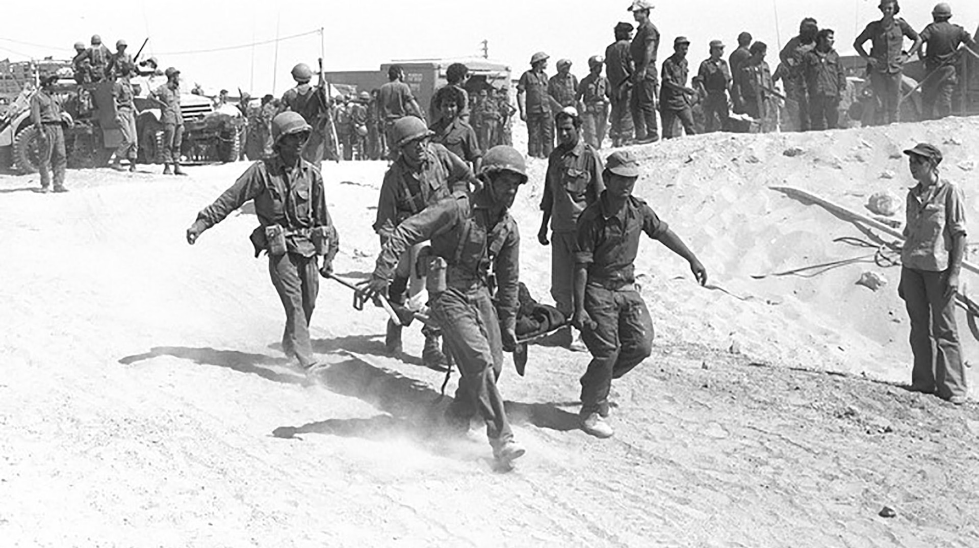 On the Yom Kippur of October 6, 1973, Egypt and Syria launched a coordinated surprise attack on Israel. Pictured here is an IDF medical crew evacuating an injured soldier from the battle field. (Israel Defense Forces, 11 October, 2005)