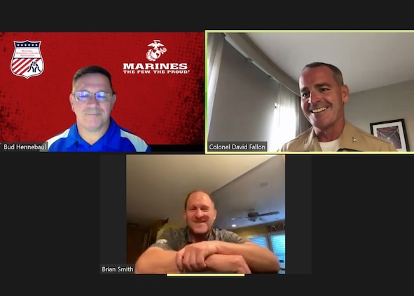 "Bud Hennebaul, the scholastic leadership academy director for the National Wrestling Coaches Association, Col. David Fallon, the commanding officer of 9th Marine Corps District, and Brian Smith, the head wrestling coach for the University of Missouri, speak during a NWCA online webinar held June 10, 2020. The webinar, titled ""Marines and Wrestling: Developing the Next Great American Generation,"" was part of NWCA's scholastic wrestling webinar series sponsored by the United States Marine Corps. The series is designed for ongoing coaching development and to inform coaches and influencers of opportunities to involve Marines in their programs. (Marine Corps photo by Cpl. Naomi May)"