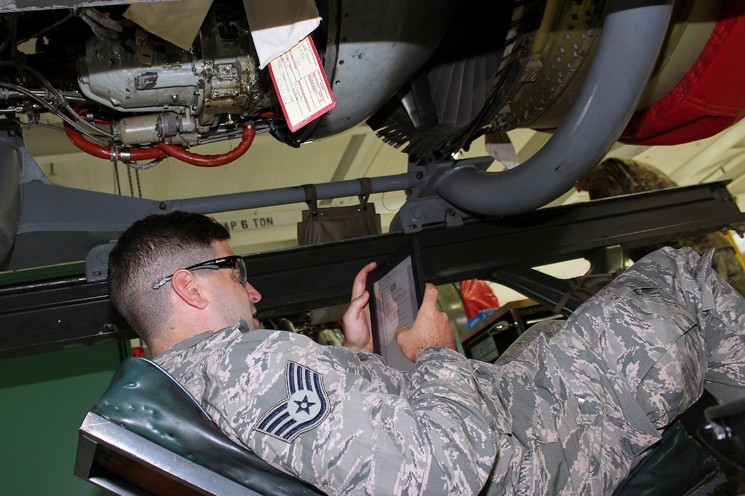 Staff Sgt. Andrew Kolbe reviews a technical order for a T34 engine at Selfridge Air National Guard Base, Mich., June 6, 2020. The T34 is used on the A-10 Thunderbolt II aircraft assigned to Selfridge. Kolbe was receiving upgrade training as a jet propulsion specialist with the 127th Maintenance Group. (U.S. Air National Guard photo by Tech. Sgt. Dan Heaton)