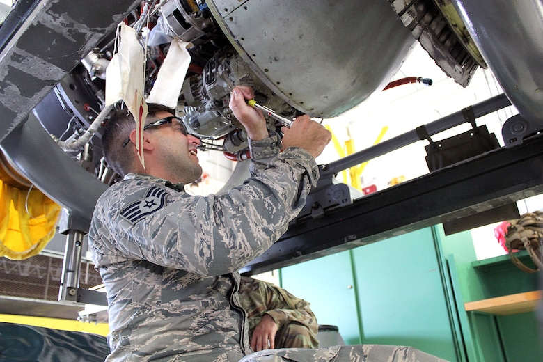 Staff Sgt. Andrew Kolbe works on a T34 engine at Selfridge Air National Guard Base, Mich., June 6, 2020. The T34 is used on the A-10 Thunderbolt II aircraft assigned to Selfridge. Kolbe was receiving upgrade training as a jet propulsion specialist with the 127th Maintenance Group. (U.S. Air National Guard photo by Tech. Sgt. Dan Heaton)