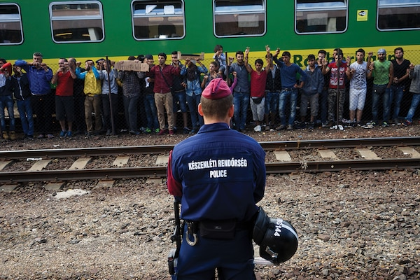 Syrian refugees protest at the platform of Budapest Keleti railway station. Budapest, Hungary, Central Europe, 4 September 2015. (Mstyslav Chernov) Refugee flows from fragile states are overwhelming the capacity of destination states worldwide.