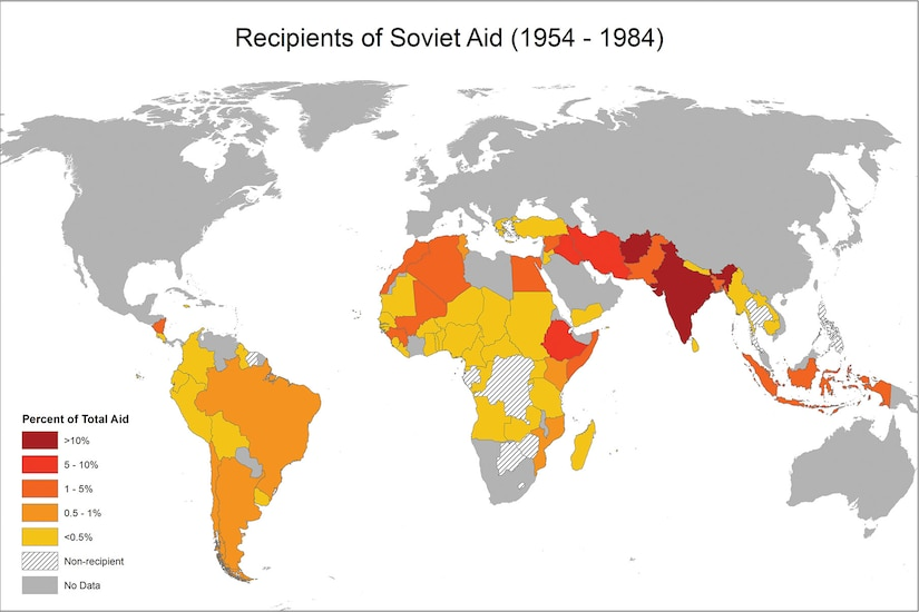 Map showing recipients of Soviet aid, 1954 – 1984. (AidData, Gerda Asmus, Andreas Fuchs, Angelika Müller, and Soren