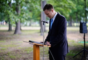 Brandon Campbell, Latter Day Saints Lay leader, says a prayer for Columbus Air Force Base June 10, 2020, at Freedom Park on Columbus AFB, Miss. For anyone not able to attend, the group held a Facebook live event which can be viewed on the Columbus AFB Facebook page. (U.S. Air Force photo by Senior Airman Keith Holcomb)