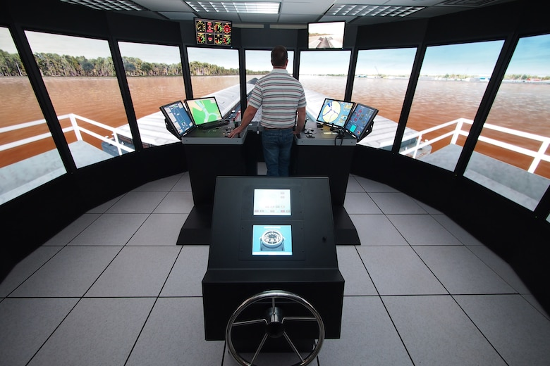 The Ship Tow Simulator at the U.S. Army Engineer Research and Development Center's (ERDC) Coastal and Hydraulics Laboratory aides in testing and improving navigation channel design. The Navigation Research, Development and Technology (RD&T) program is part of the ERDC's overall civil works mission.