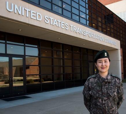 Maj. Paek outside the United States Transportation Command building.