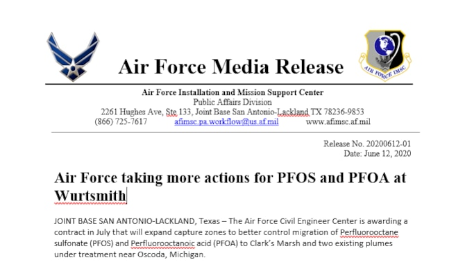 The Air Force Civil Engineer Center is awarding a contract in July that will expand capture zones to better control migration of Perfluorooctane sulfonate (PFOS) and Perfluorooctanoic acid (PFOA) to Clark's Marsh and two existing plumes under treatment near Oscoda, Michigan.