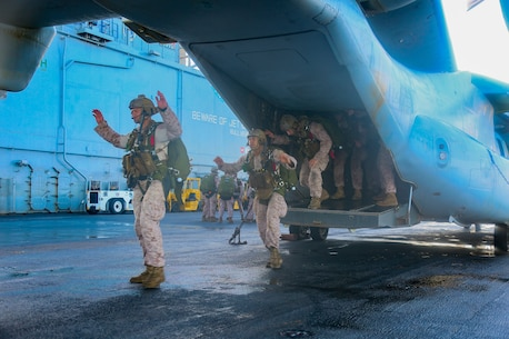 200506-M-IR130-1021 ARABIAN GULF (May 6, 2020) Reconnaissance Marines assigned to the Maritime Raid Force, 26th Marine Expeditionary Unit (MEU), walk through the procedures of a free-fall insert aboard the amphibious assault ship USS Bataan May 6, 2020. Bataan, with embarked 26th MEU, is deployed to the U.S. 5th Fleet area of operations in support of naval operations to ensure maritime stability and security in the Central Region, connecting the Mediterranean and Pacific through the Western Indian Ocean and three strategic choke points. (U.S. Marine Corps photo by Cpl. Gary Jayne III)