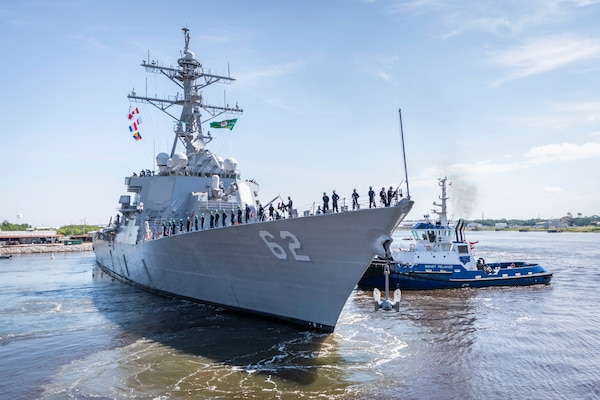 he guided-missile destroyer USS Fitzgerald (DDG 62)  prepares to depart Huntington Ingalls Industries, Ingalls Shipbuilding division's Pascagoula shipyard June 13 to return to her homeport in San Diego.